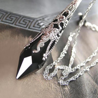 Black Crystal Necklace Sterling Silver Jet Black Swarovski Crystal Necklace Black Teardrop Necklace Gothic Icicle