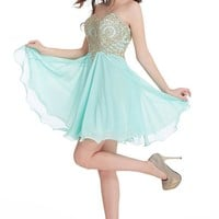Short Homecoming Dress Hand Beaded Prom Cocktail Party