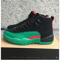 Air Jordan 12 Retro Aj 12 Black/green Men Basketball Shoes