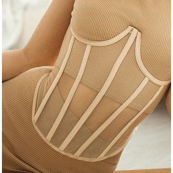 Casual stitching breast support and waist girdle women's fashion slim body chest revealing knitting
