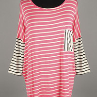 Coral Stripe with pocket and Black Stipe Detail