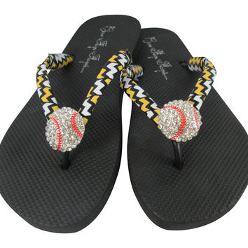 Baseball Flip Flops with Black and Gold Chevron Team Colors