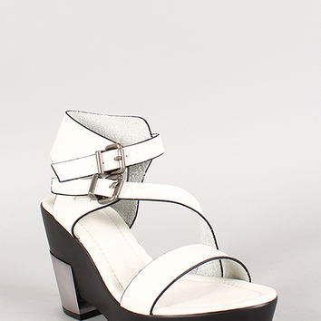 Double Buckle Strap Open Toe Metallic Accent Heel