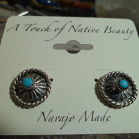 Authentic Navajo,Native American Southwestern vintage-traditional style sterling silver sleeping beauty turquoise concho stud earrings.