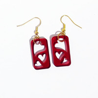 Red Heart Earrings Floating Love Jewelry Laser Cut Heart Jewelry Transparent Heart Earrings Black Blue Gray Green Yellow Red