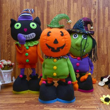 Halloween Home Decor Party Scream Soft Stuffed For Kids Gift Party Decoration Orange Pumpkin Zombie Telescopic Plush Doll Toy