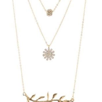 Gold Leaf & Daisy Layering Necklaces - 3 Pack by Charlotte Russe