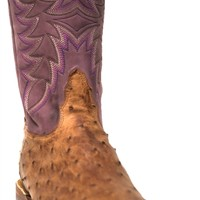 Tony Lama Women's Coffee Vintage Full Quill Ostrich and Amethyst Cowhide Square Toe Boots