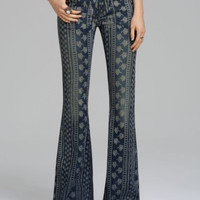 NWT FREE PEOPLE BALI STRIPE FLORAL-PRINT INDIGO COMBO WASH FLARE JEANS