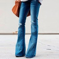 High Waist Jeans Of Women Spring Pants Capris Fashion Denim Hole Stretch Slim Flare Jeans Pants Female