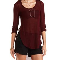 Heathered Sweater Knit High-Low Tee by Charlotte Russe