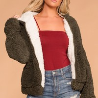 Snuggle Up Olive Bomber Jacket