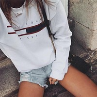 T-shirts Hot Sale Autumn Women's Fashion Round-neck Long Sleeve Print Hoodies [11859745167]