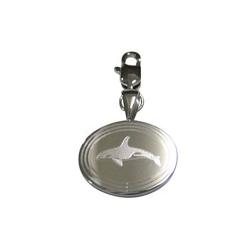 Silver Toned Etched Jumping Killer Whale Orca Pendant Oval Trinket Jewelry Box
