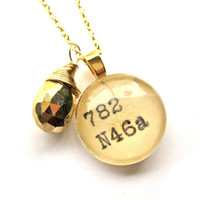 22K Gold and Pyrite Dewey Decimal Vintage Card Catalog Luxe Necklace Faceted Pyrite Drop by The Written Nerd