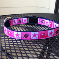 Dog Collar Made from Pink Dallas Cowboys Ribbon by SweetKeeps