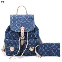 LV 2019 new classic logo canvas men and women large capacity backpack #4