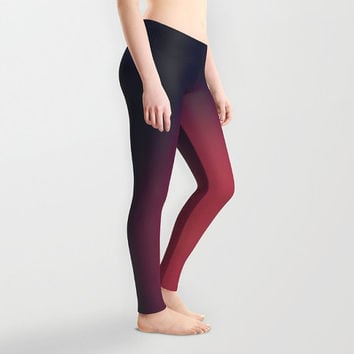 Brevity style Lady's leggings Active wear Color gradation Black to red Casual wear Stretchable leggings Simplified design Unique style