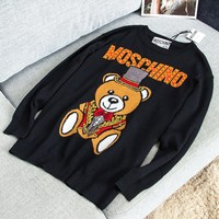 Thom Browne Autumn And Winter Fashion New Bear Letter Print Long Sleeve Top Sweater Women Black