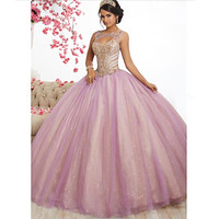 Pink Tulle Long Quinceanera Dresses Ball Gowns 2019 New Design Beading Top Sweet 16 Dress Incinerate vestido de 15 anos