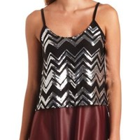 Sequin Chevron High-Low Tank Top by Charlotte Russe - Black Combo