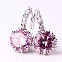 Blushing Pink Solitaire White Or Yellow Gold Hoop Earrings