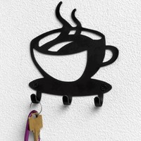 Spectrum Black Steel Coffee Time Wall Mounted 3 Hook Key Rack:Amazon:Home & Kitchen
