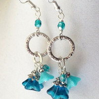 Teal Blue Flower & Elegant Silver Ring Dangly Boho Crystal Earrings