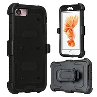 Apple iPhone 8 Case, Triple Protection 3-in-1 Heavy Duty Holster Shell Combo Case Cover for iPhone 8 - Black