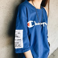 Champion loose short sleeve T-shirt shoulder open holes top