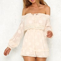 Chiffon Women Rompers Vintage Sexy Off Shoulder Polka Dot Playsuit Lace Up Short Jumpsuit Rompers