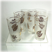 Gold Leaf Glasses, Libbey Glass, Frosted Glasses, Drinking Tumbler, Water Tumbler, Tall Glass, Barware, Retro Glassware