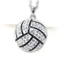 PammyJ Large White and Crystal Volleyball Ball Pendant Necklace