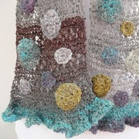 Hand knitted scarf one of a kind , in turquoise, cedar green, mauve and gray with flowers and a ruffle - spring scarf