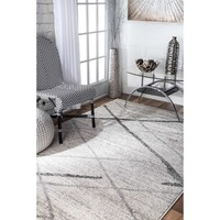 Azha Broken Lattice White/Light Gray Area Rug