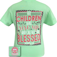 Girlie Girl Originals Her Children Shall Rise Up and Call Her Blessed Mom Bright T Shirt
