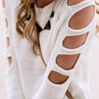 Fashion Long Sleeve Hollow Top Sweater