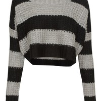 Qed London Loose Knit Striped Cropped Jumper in Black and Grey