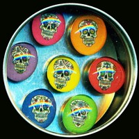 Day of the Dead Glass Gem Magnet Set