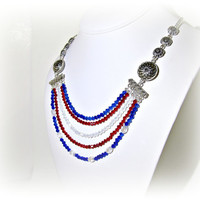 Red White and Blue Patriotic Crystal Layered Necklace - Statement Necklace - Patriotic Colors - Summer Colors