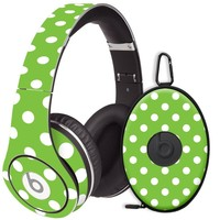 White Polka Dot on Lime Decal Skin for Beats Studio Headphones & Carrying Case by Dr. Dre