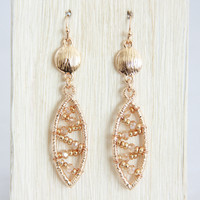 Gold Helix Bead Earrings