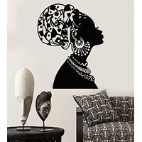 Vinyl Wall Decal African Girl Black Woman In Turban Native Stickers Unique Gift (1545ig)