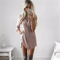 New Arrival 2017 Ukraine Women Fall Dresses Women Spring SummerLong Sleeve Casual Shirt Dress Mini Vintage Party Dresses
