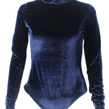 Velvet Blue Turtle Neck Bodysuit