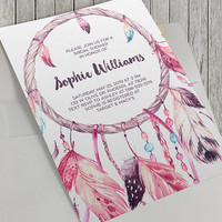 Printable Bridal Shower Invitation, Dreamcatcher Invitation, Boho Invitation, Boho Wedding, 5x7 Invitation, Tribal, Baby Shower Option