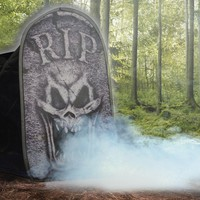 halloween decorations: tombstone macabre foggy