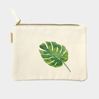 Monsterra Leaf Cotton Canvas Eco Pouch Makeup Bag