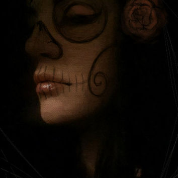 "Day of the Dead Portrait ""Serenity"" on stretched canvas"