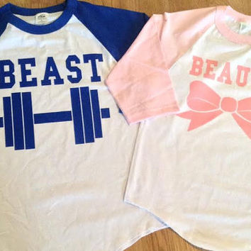 Free/Fast  Shipping for US Beauty and The Beast 3/4 Long Sleeve Baseball Couples T-Shirts